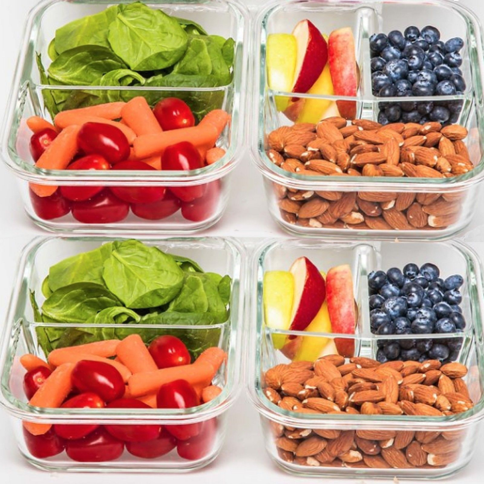 2 & 3 Compartment Glass Meal Prep Food Storage Containers - 4 Pack 1