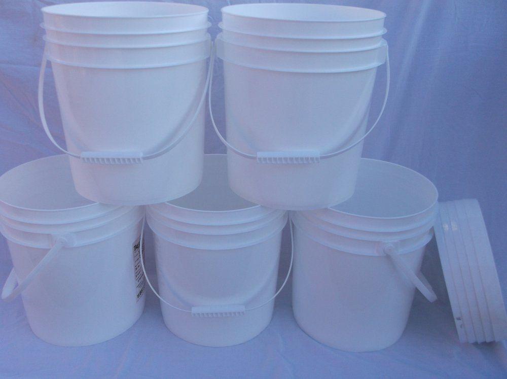 5 FOOD GRADE USED PLASTIC 4 GALLON ROUND BUCKETS PAILS W LIDS HANDLES STORAGE RC 1
