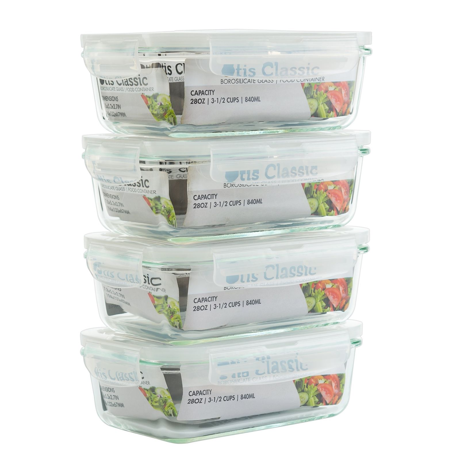 Glass Meal Prep Food Storage Container with Snap Locking Lids - 28oz - 4pc Box 1