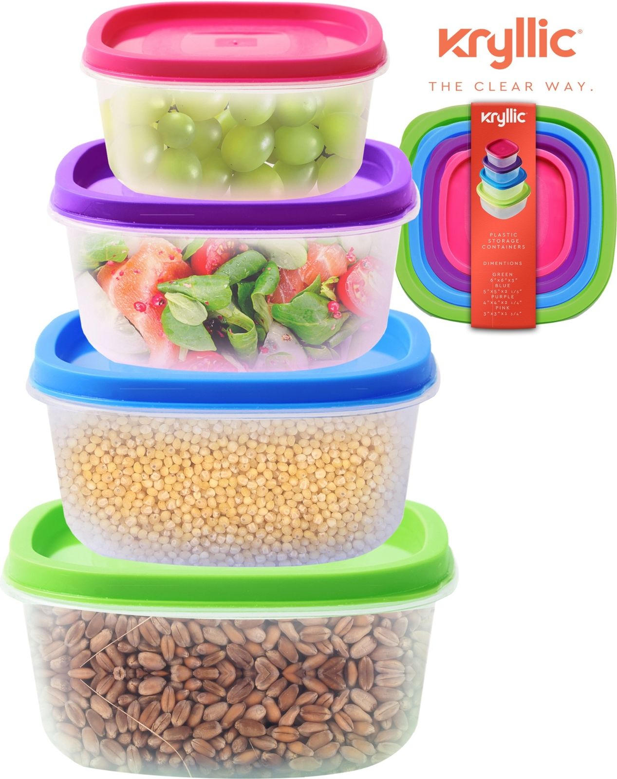 Plastic Food Storage Containers 4 sizes airtight Lids nesting stackable bpa free 1