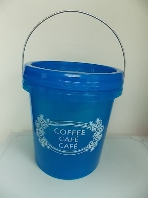 OPIF- BUCKET-FOOD STORAGE CONTAINER-SNAP ON LID-HANDLE-PAIL-1 GALLON-COFFEE-BLUE 1