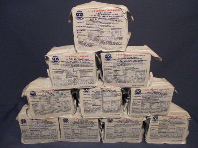 EMERGENCY FOOD RATIONS LOT OF 8/ 2400 CALORIE PACKS, STORAGE, READY TO EAT 1