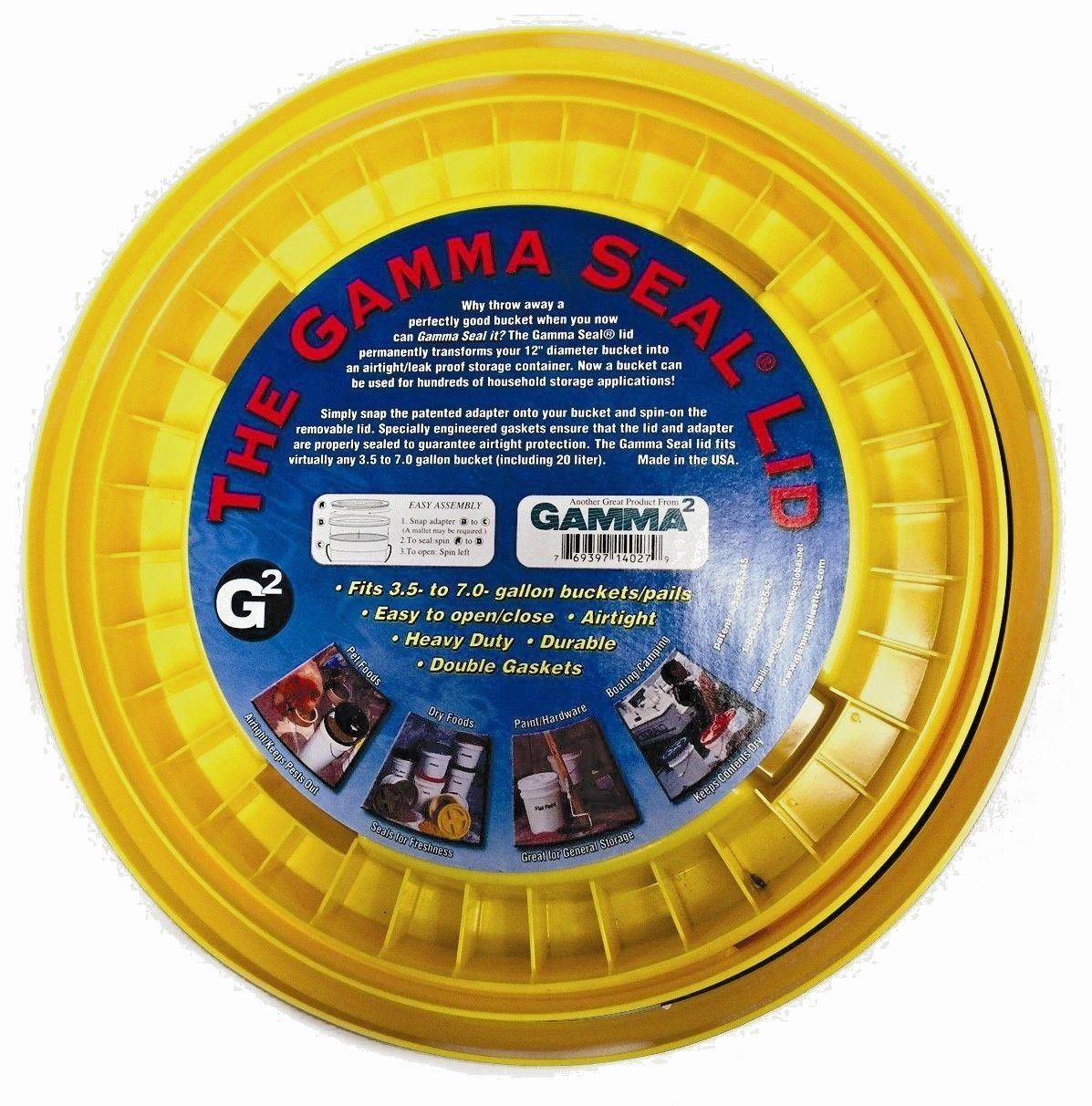 GAMMA SEAL SCREW ON BUCKET LID, YELLOW, - AIR TIGHT - FOOD STORAGE, PAINT, ETC 1