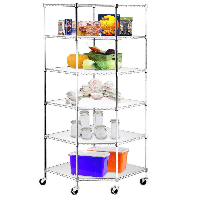 Heavy Duty Steel 6-Tier Corner Restaurant Shelf Commercial Food Storage Silver 1