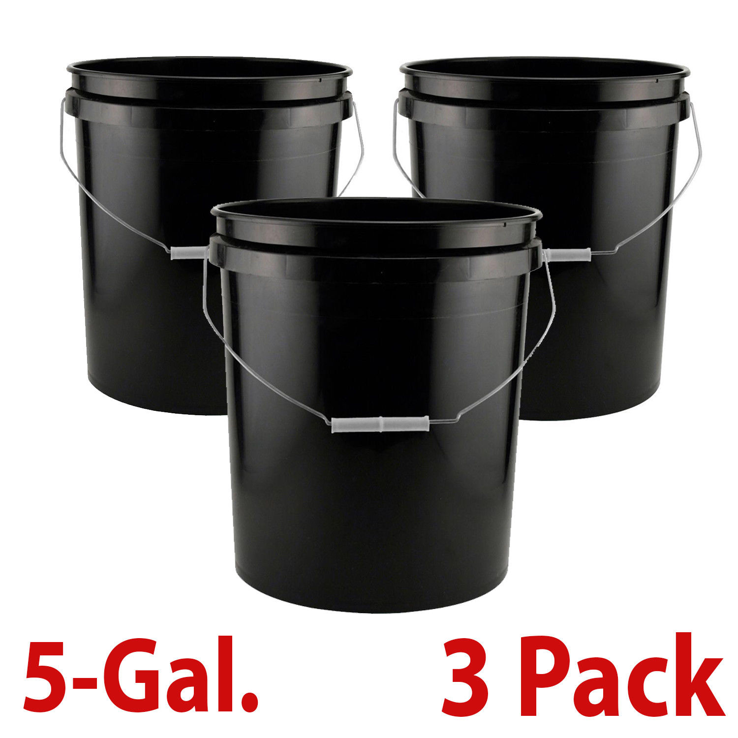 5 Gallon Paint Bucket Plastic Commercial Multi Purpose Food Grade Storage 3 PACK 1