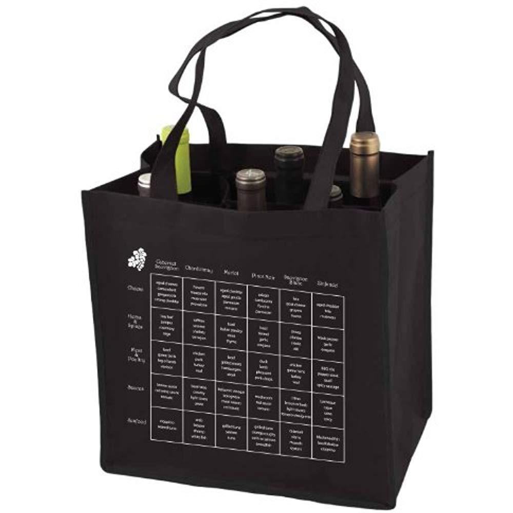 6-Bottle Wine Tote Bag Storage Compartents Imprinted Food Pairing Chart, 1, 1