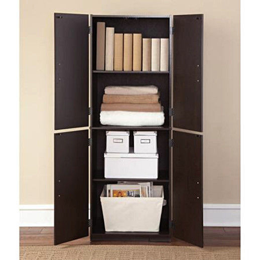 Tall Storage Cabinet Kitchen Cupboard Pantry Food Organizer Storage Shelf Wood 1