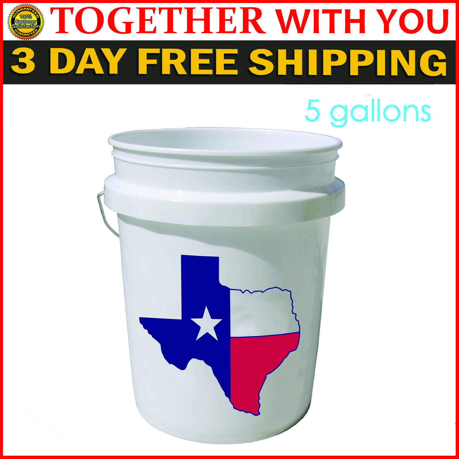 5 Gallon Plastic Bucket All Purpose Commercial Food Grade Paint Storage White 1