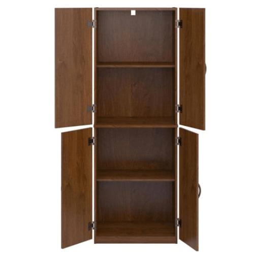Food Pantry Storage Kitchen Brown Cabinet 4 Door Cupboard Organizer 4 Shelves 1