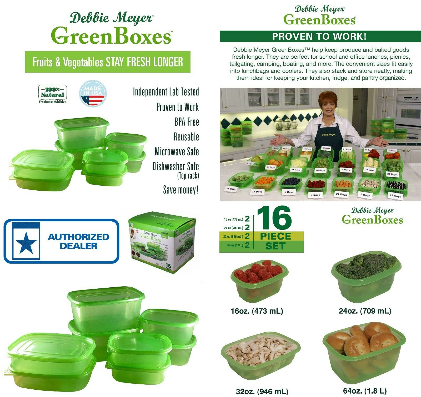 HOLIDAY SALE Debbie Meyer Green Boxes  Food Storage Containers 16-Piece Set USA 1