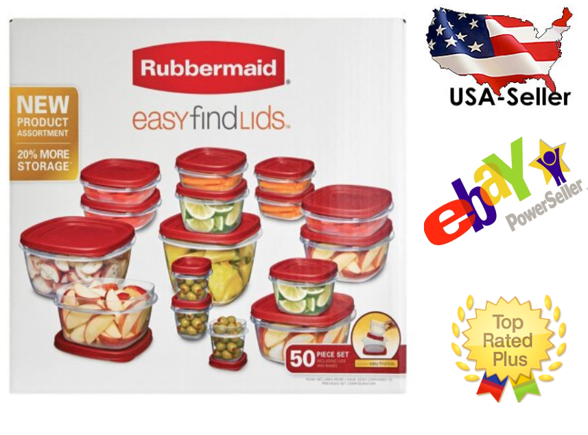 Rubbermaid 50 piece Easy Find Food Plastic Storage Containers Set Snapon Lids 1
