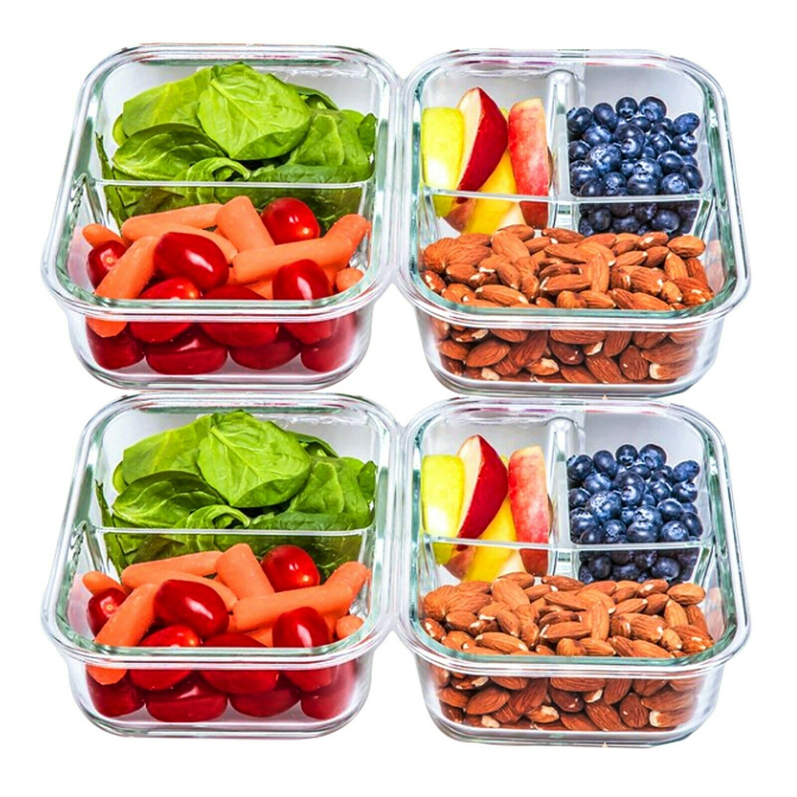 2 & 3 Compartment Glass Meal Prep Food Storage Containers - 32 Oz, 4 Pack 1