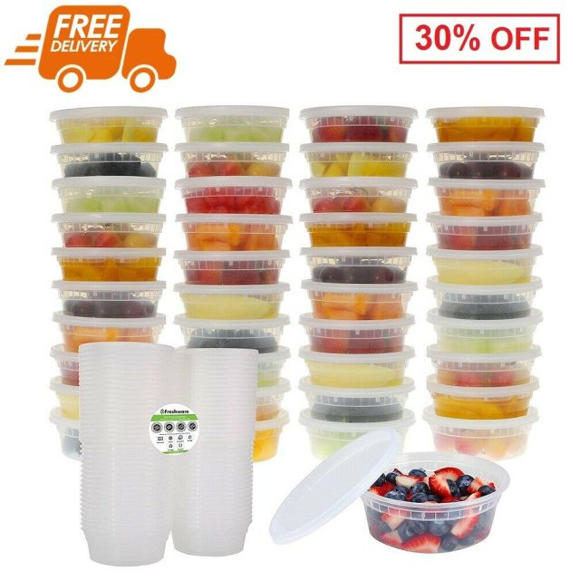 40 Pack Meal Prep Food Storage Containers Leakproof Stackable with Lids 8 oz 8