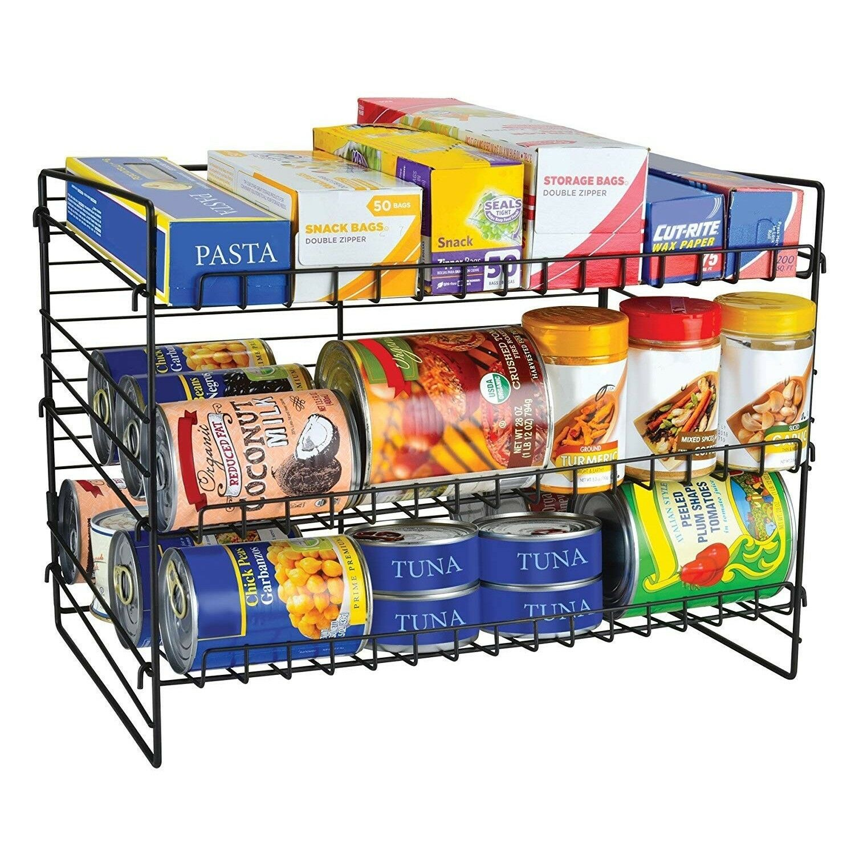 Can Food Organizer Rack Pantry Storage Holder Shelf Kitchen Food Metal 3 Tier 1