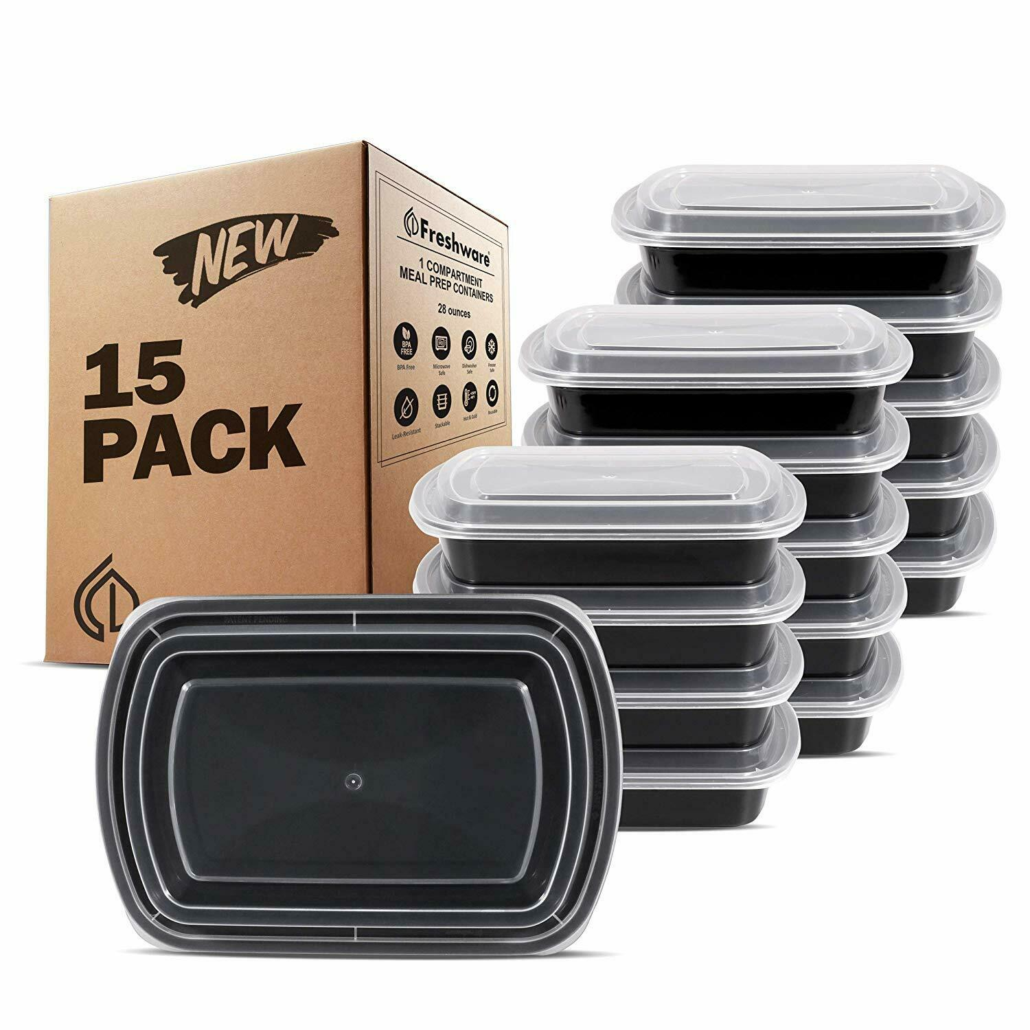 Freshware Meal Prep Containers [15 Pack] 1 Compartment with Lids, Food Storage B 1