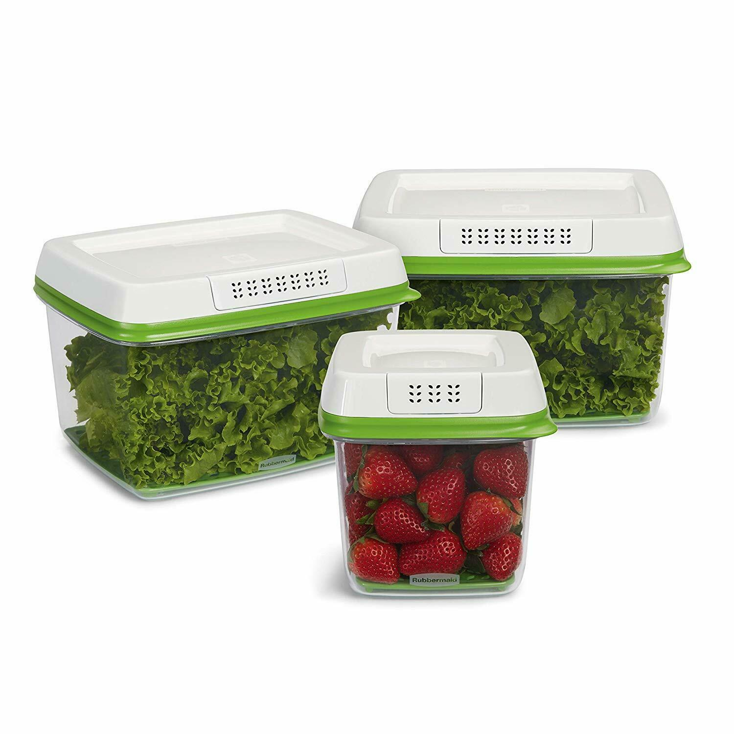 Rubbermaid FreshWorks Produce Saver Food Storage Containers, 3-Piece Set 2016450 1