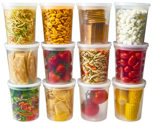 Bset Pack of 24 Deli Food Storage Containers With Lids Quart Plastic 32 Ounce 6