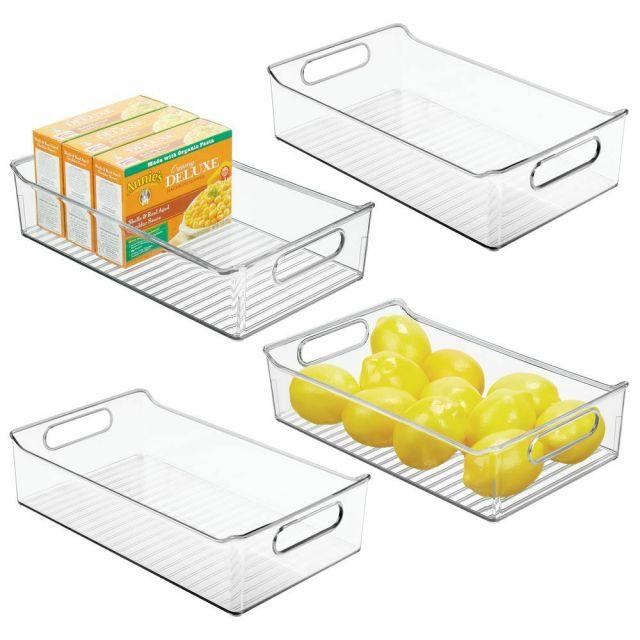 mDesign Wide Plastic Kitchen Pantry Refrigerator Food Storage Bin 9