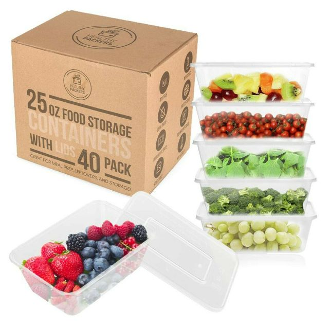 25 oz Food Storage Containers with Lids - Disposable Meal Prep Plastic (40 Pack) 6