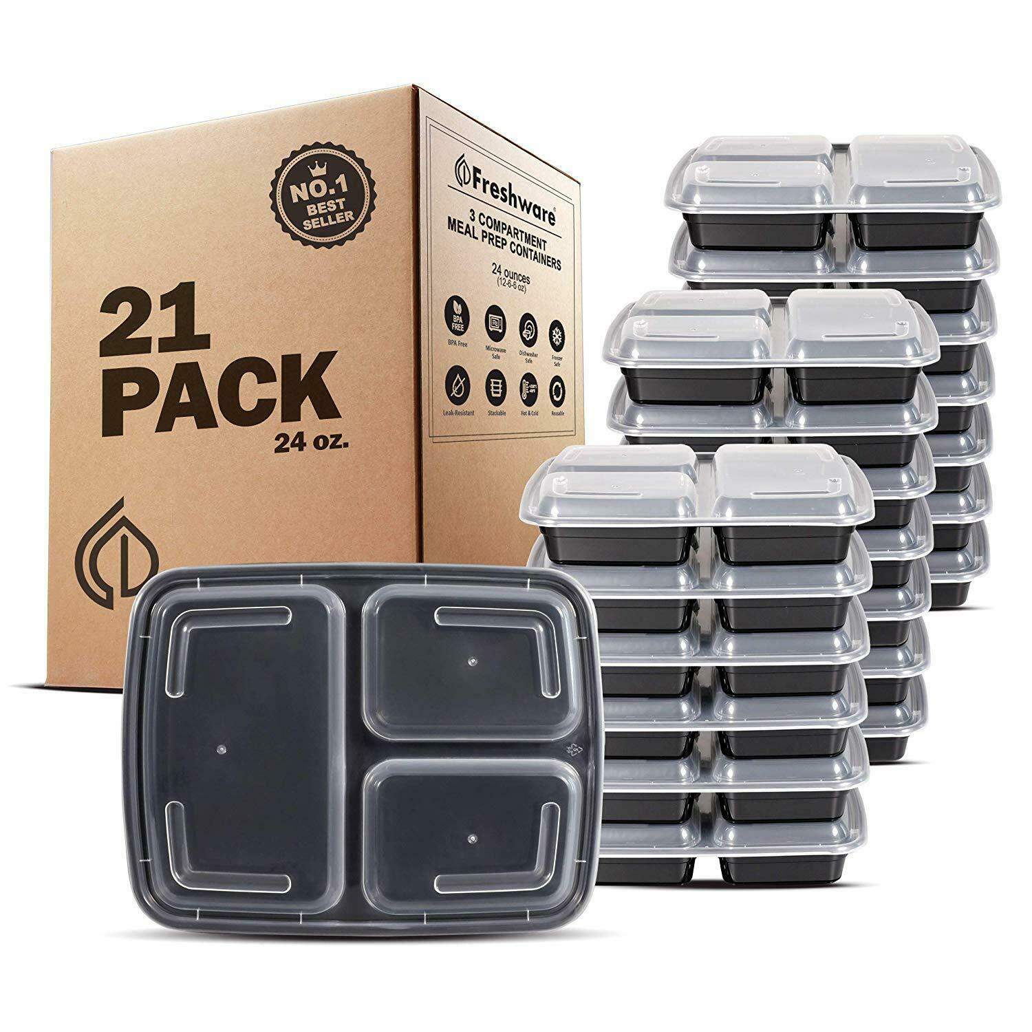 Meal Prep Containers (21-Pack) 3 Compartments (24-Oz) Food Storage Bento Box 1