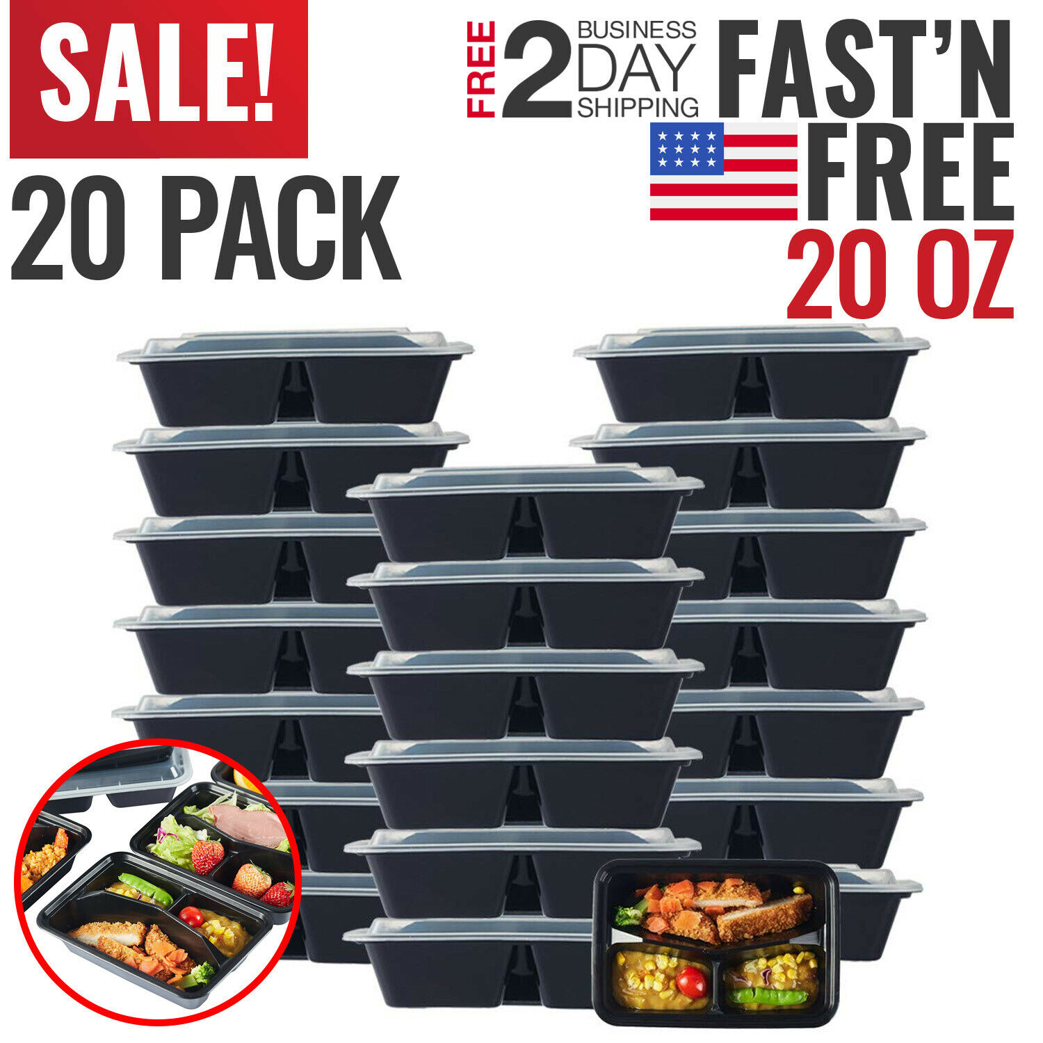 Meal Prep Containers Food Storage Bento Lunch Box Plastic Compartment Bulk Lids 1
