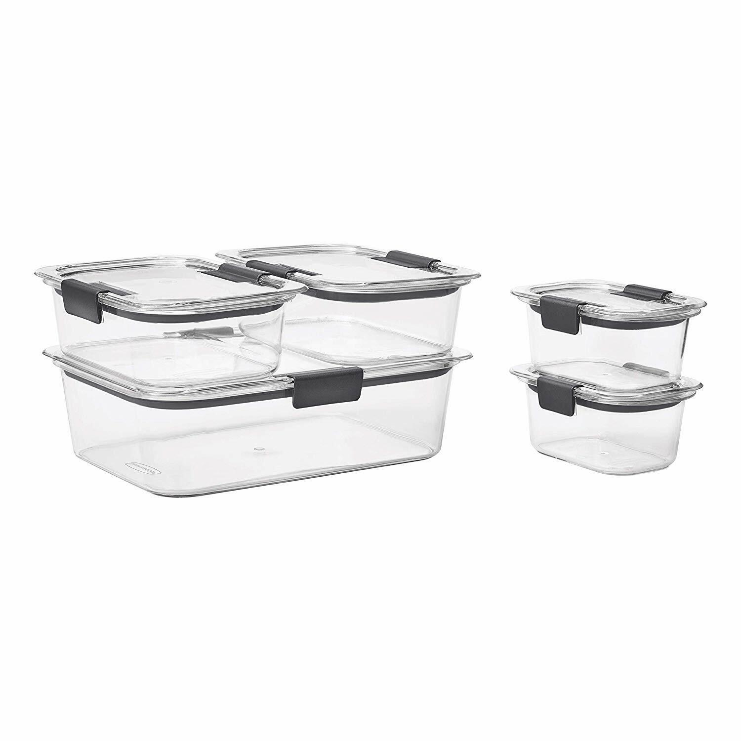 Rubbermaid Brilliance Leak-Proof Food Storage Containers Set of 5, BPA-Free, NEW 1