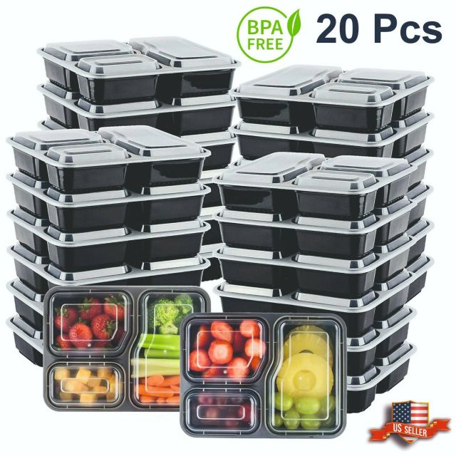 20Pcs Meal Prep Containers 3 Compartment Food Storage Reusable Microwave Plastic 3