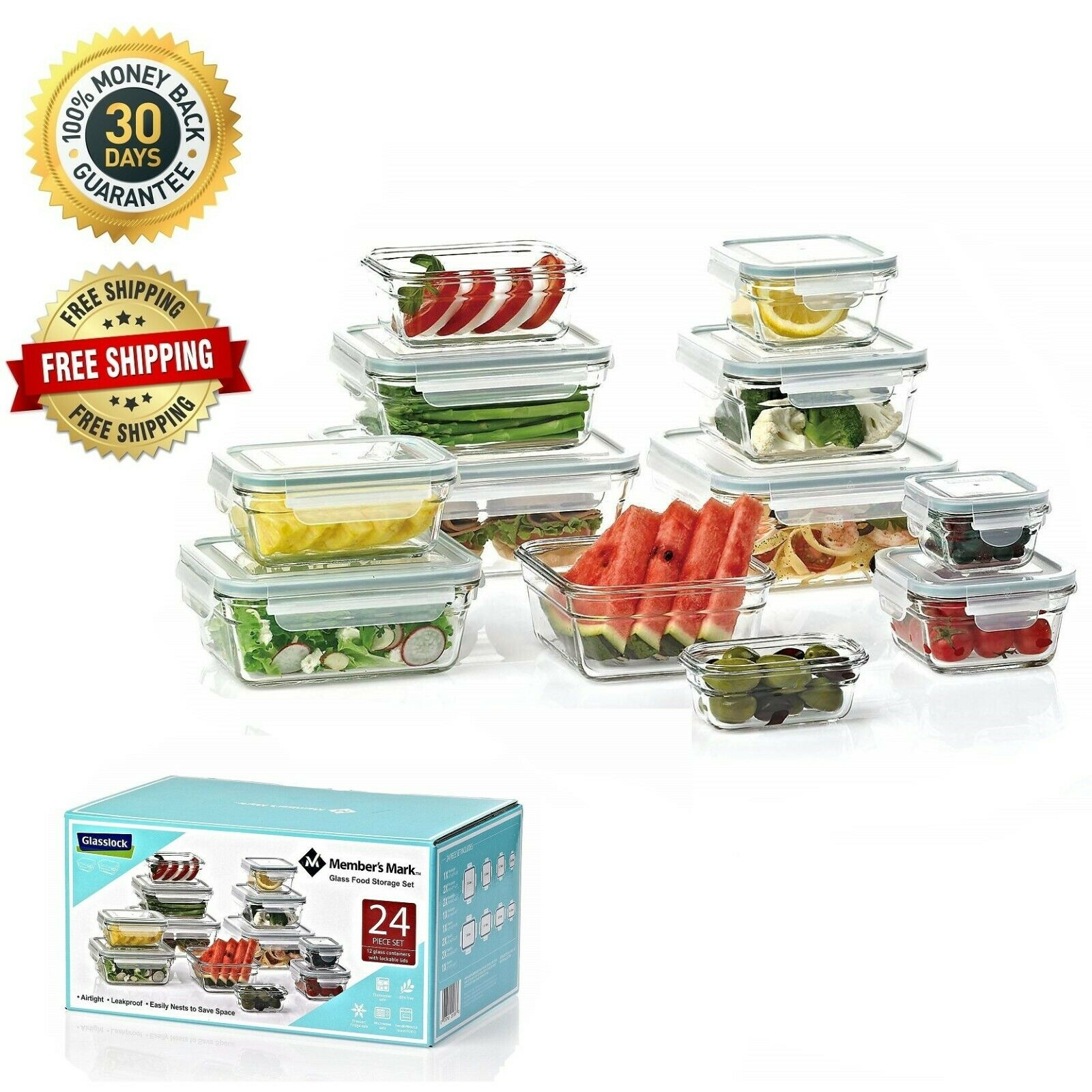 24-piece Glass Food Storage Set Airtight Leak Proof Meal Prep Containers Lunch 1