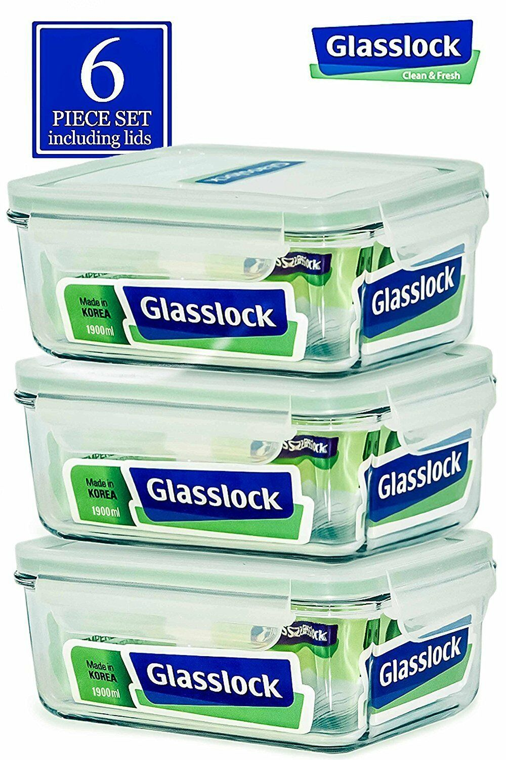 Glasslock Food-Storage Container Airtight Lids Microwave Safe 6pcs Set in 9sizes 1