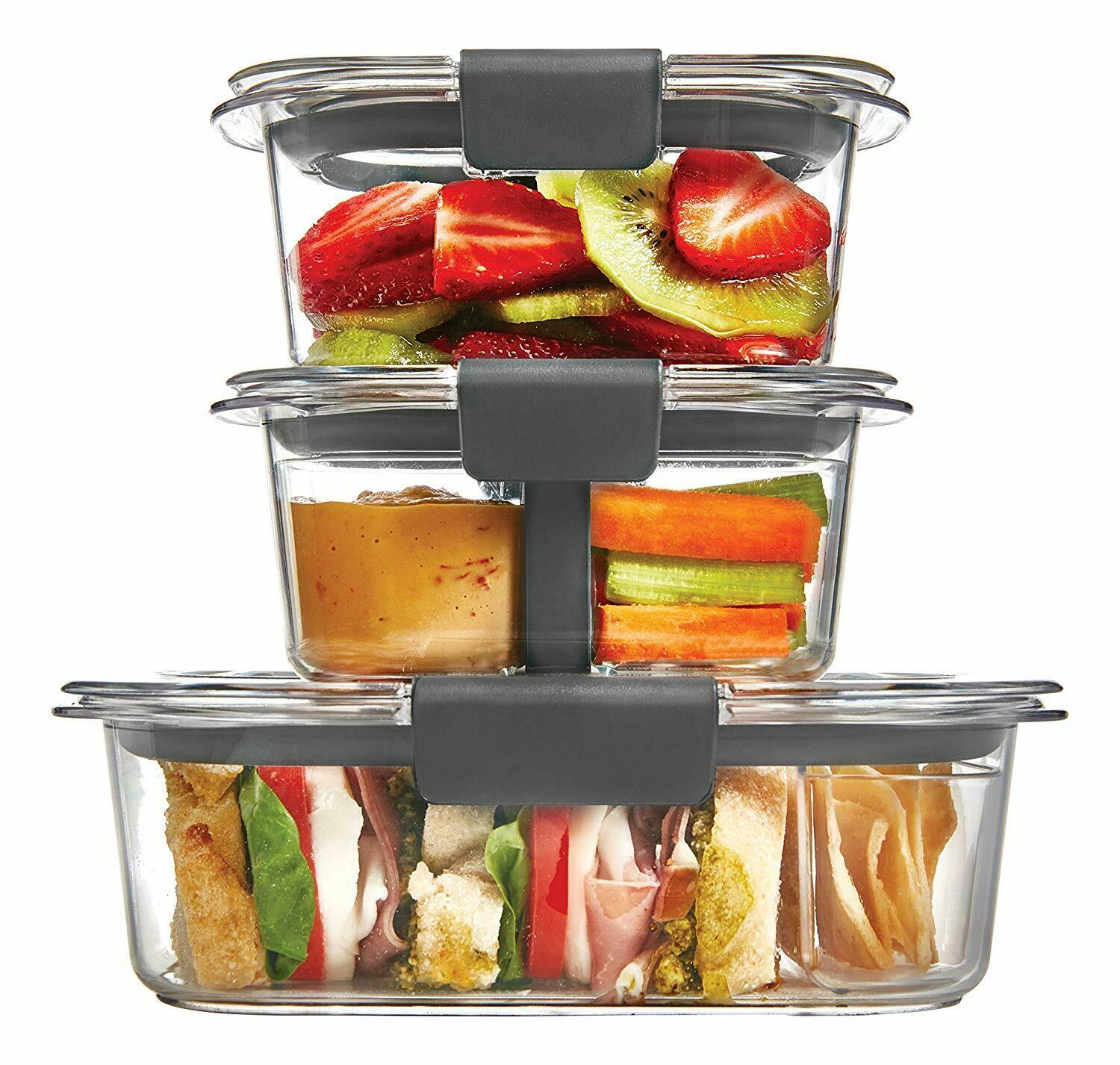 Rubbermaid Brilliance Food Storage Container Lunch Kit Clear 10-Piece Set 1