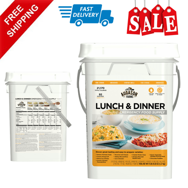 Lunch & Dinner Varieties Emergency Food Pouches Supply Storage Pail, 92 Servings 4