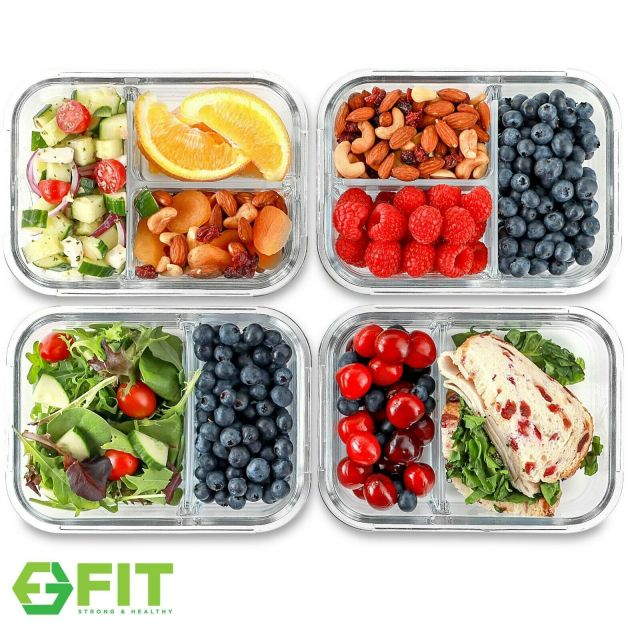 Glass Meal Prep Food Storage Containers (2 & 3 Compartments) 4 Pack, 32 Ounces 1