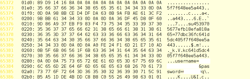 Stolen credentials from a vulnerable server's memory.