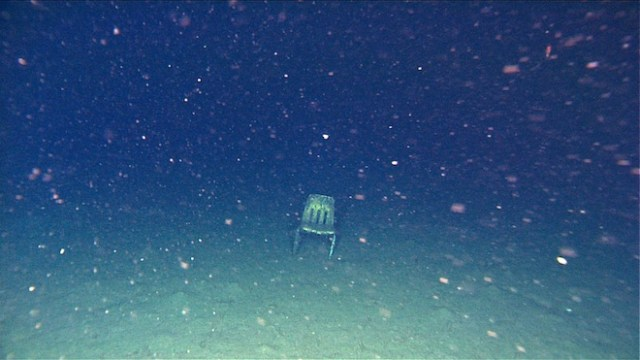 Chair at the bottom of Monterey Canyon, nearly 10,500 feet down. Image copyright 2003, MBARI.