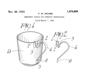 """""""Emergency Handle For Domestic Receptacles"""", patented in 1922 by inventor Frederick Warren Wilkes of Birmingham, UK."""