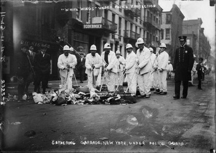 "Waring's ""White Wings Under Police Protection."" During strike. Photo courtesy DSNY."