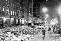 The scene in downtown Manhattan during a sanitation workers' strike, 1968. Getty Images.
