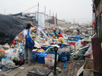 Plastic recycling yard in Bongxiaokou Recycling Station. July 2011. Photo by Shih-yang Kao.
