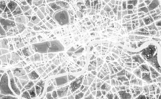 """""""Silent London"""" by Simon Elvins, 2005. Using information the government has collected on noise levels within London, a map has been plotted of the capitals most silent spaces. The map intends to reveal a hidden landscape of quiet spaces and shows an alternate side of the city that would normally go unnoticed."""