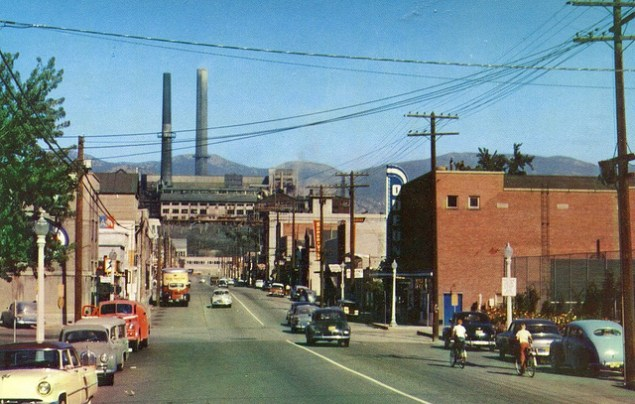 Postcard: Trail, BC, 1955. Recycling facility in the background.