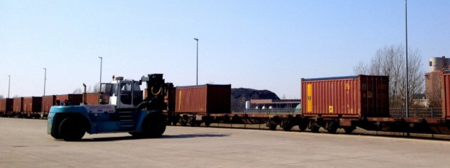One of the service vehicles used to unload the shipping containers from the rail lines. Author's photo.