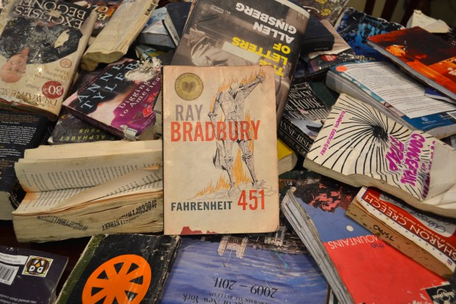 Bradbury book on table at our press conference announcing the lawsuit. (photo: M. Oman-Reagan
