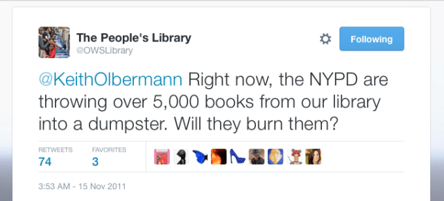 First Tweet from November 15 (source: https://twitter.com/OWSLibrary/status/136343603466354688)