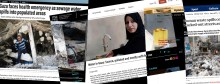 A collage of news stories about waste, sewage, pollution in drinking water in palestine