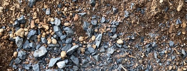 Grey gravel and brown dirt