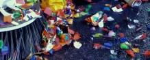 Gutter segments, mechanical broom sweeping confetti