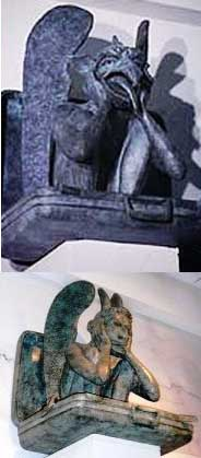 DIA1-2xGargoyles New World Order Airport - Occult art
