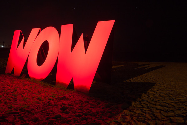 WOW - Perfect Palindrome for a Memorable Moment, by Midge Johansen - Swell Sculpture Festival 2012, Night Visit; Currumbin, Gold Coast, Queensland, Australia; 20 September 2012. Photos by Des Thureson.