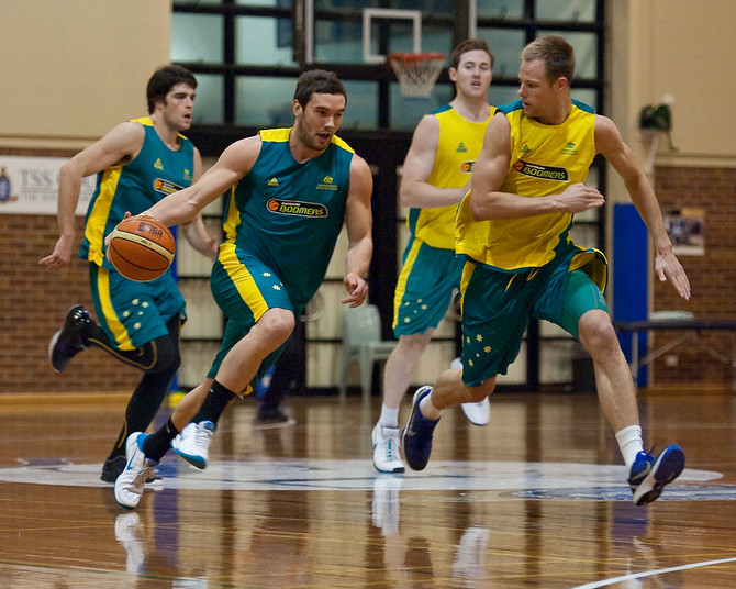 Adam Gibson, Brad Newley - Boomers - Australian Men's Basketball Team Open Training Session, The Southport School, Queensland, Australia; 28 July 2011. Photos by Des Thureson:  http://disci.smugmug.com.
