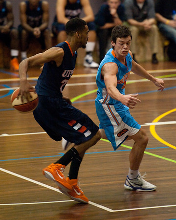 Melvin Johnson III, Jason Cadee - NBL Pre Season Basketball: Gold Coast Blaze v University of Texas San Antonio; Carrara, Gold Coast, Queensland, Australia. Photos by Des Thureson:  http://disci.smugmug.com.
